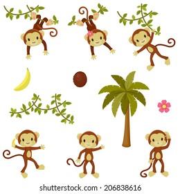 Happy funny monkeys set. Isolated over white