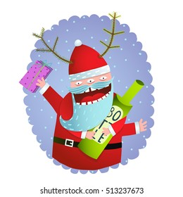 Happy Funny Monster Santa Claus with present and bottle Christmas Greeting Card. Happy New Year celebration fun greeting card design with crazy drunk Santa. Vector illustration.