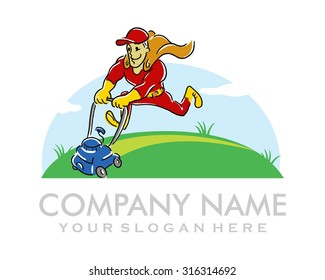 happy funny mower guy super hero cartoon character
