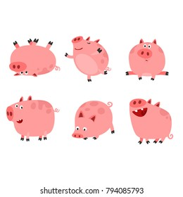 Happy Funny Pig Characters Set. Cartoon Style Vector Illustration