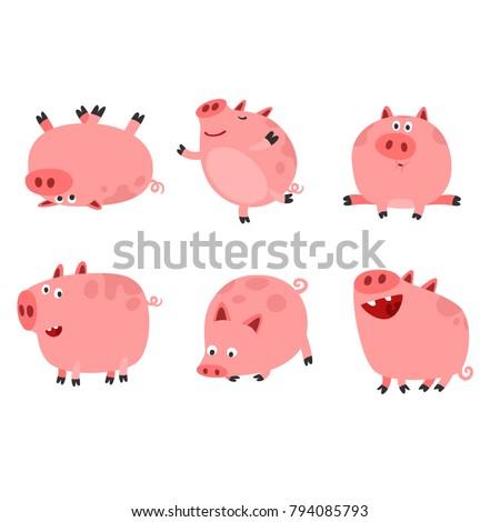 happy funny pig characters set cartoon stock vector royalty free