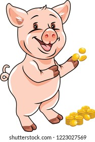 Happy funny piggy with coins. Vector