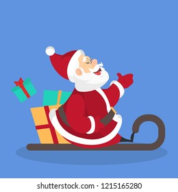 Happy funny Santa Claus in sledge with gift boxes. Winter character have fun sitting in sleigh. Flat vector illustration