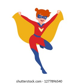 Happy funny supergirl or girl with super powers. Smiling redhead kid wearing tight-fitting costume, cape and mask. Comic or fantastic character. Colorful vector illustration in flat cartoon style.