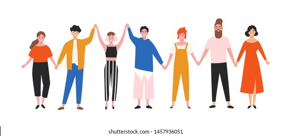 Happy funny young men and women holding hands. Cute smiling people standing in row together. Group of joyful friends. Union, community, association. Flat cartoon colorful vector illustration.