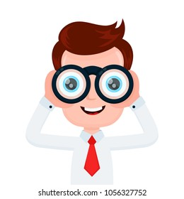 Happy funny young smiling businessman looking through binocular. Vector flat cartoon character illustration icon design. Isolated on white background.Man with binoculars concept
