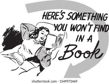 Happy Gal Reading Book - Engrossed In Riveting Novel