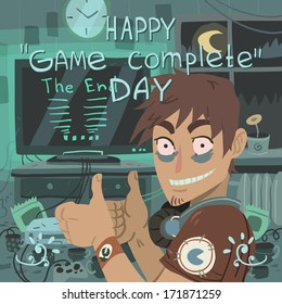 """Happy game complete day"" greeting card."