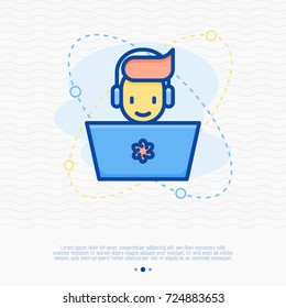 Happy gamer with laptop and headset. Thin line vector illustration of cybersport.