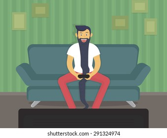 Happy gamer sitting at home and playing video games over time