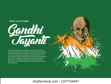Happy Gandhi Jayanti 2nd October background, banner, and flyer. vector illustration , 10 eps