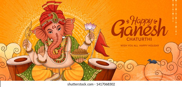 Happy Ganesh Chaturthi banner design with Ganesha and drums