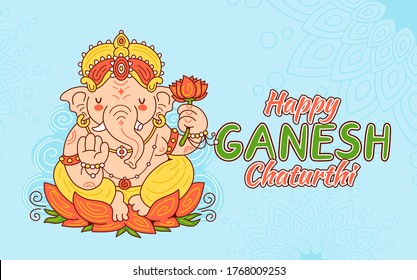 Happy Ganesh Chaturthi card concept. Vector cartoon character illustration. Isolated on white background. Ganesh character