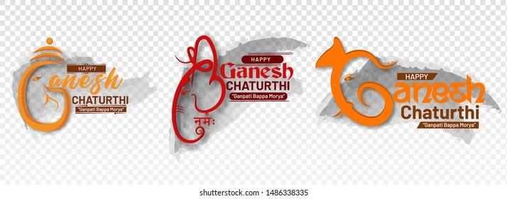Happy Ganesh Chaturthi. creative  calligraphy for indian festival ganesh chaturthi with abstract background. typographic, logo or badges. Usable for greeting cards,print, t-shirts,posters and banners.
