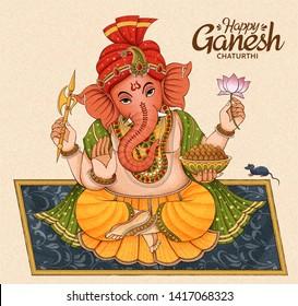 Happy Ganesh Chaturthi design with Ganesha sitting on floral blanket