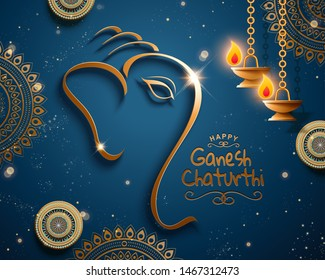 Happy Ganesh chaturthi design with Ganesha's head composed of metallic line on blue background