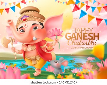 Happy Ganesh chaturthi design with lovely chubby Ganesha holding gulab, lotus and axe standing by beautiful lotus pond