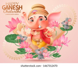 Happy Ganesh chaturthi design with lovely chubby Ganesha holding gulab, lotus and axe standing in the middle of lotus garden