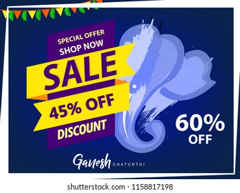 Happy Ganesh Chaturthi design, Vector Illustration.