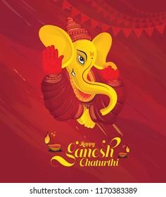 Happy Ganesh Chaturthi Festival Background Template Design with Lord Ganesha Illustration