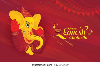 Happy Ganesh Chaturthi Festival Background with Lord Ganesha Illustration