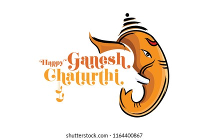 Happy Ganesh Chaturthi Festival Becground Template with Lord Ganesha Head
