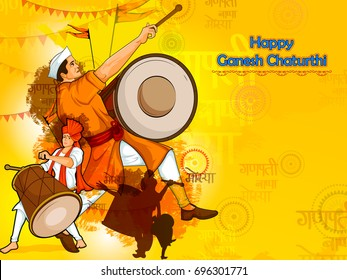 Happy Ganesh Chaturthi festival celebration of India with people celebrating dhol tasha with text in Hindi Ganpati Bappa Morya meaning My Father Ganapati  in vector