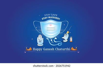Happy Ganesh Chaturthi festival concept and corona covid 19 vaccine with safety mask