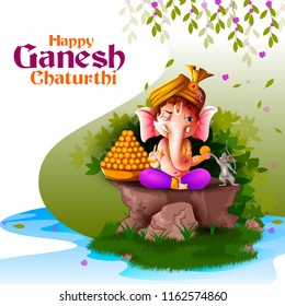 Happy Ganesh Chaturthi festival of India background with Lord Ganpati. Vector illustration