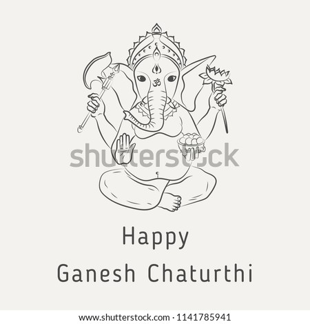 Happy ganesh chaturthi greeting card hindu stock vector royalty happy ganesh chaturthi greeting card for the hindu holiday concept of indian philosophy m4hsunfo