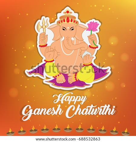 Happy ganesh chaturthi greeting card vector stock vector royalty happy ganesh chaturthi greeting card vector illustration also known as vinayagar chaturthi is a indian m4hsunfo