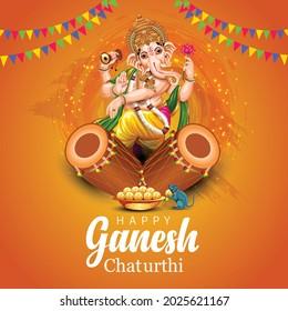 happy Ganesh Chaturthi greetings. vector illustration design. - Shutterstock ID 2025621167