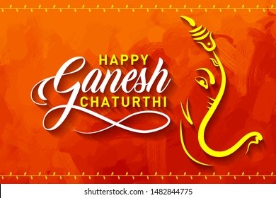 Happy Ganesh Chaturthi. Indian Festival of lord Ganapati Banner, Logo design, Sticker, Concept, Greeting Card, Template, Icon, Poster, Unit, Label, Web, Mnemonic on Orange paint brush stoke Background
