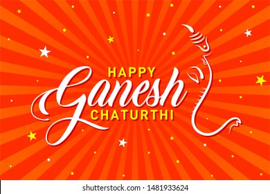 Happy Ganesh Chaturthi. Indian Religious Festival of lord Ganapati Banner, Logo design, Sticker, Concept, Greeting Card, Template, Icon, Poster, Unit, Label, Web Header, Mnemonic on Orange Background