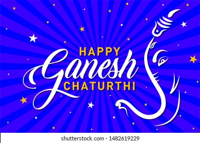 Happy Ganesh Chaturthi. Indian Religious Festival of lord Ganapati Banner, Logo design, Sticker, Concept, Greeting Card, Template, Icon, Poster, Unit, Label, Web Header, Mnemonic on Blue Background