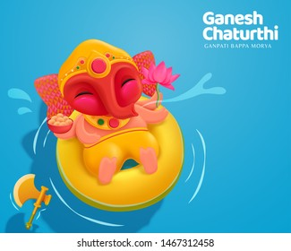 Happy Ganesh chaturthi with lovely baby Ganesha floating upon water, top view