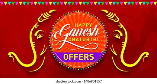 Happy Ganesh Chaturthi Offers. Indian Festival of lord Ganapati Sale, Discount Banner, Logo design, Sticker, Concept, Greeting Card Template, Icon, Poster, Unit, Label, Web Mnemonic on dark Background