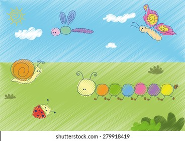 Happy Garden animals vector style children illustration