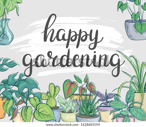 Happy Gardening Banner Flowers Pots Stock Vector Royalty Free 1628683594