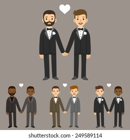 happy gay wedding couples holding hands
