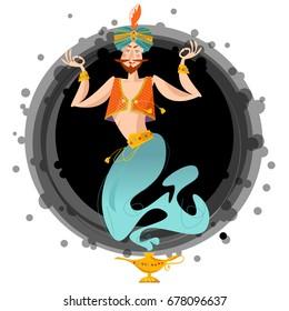 Happy genie with magic lamp. Vector illustration
