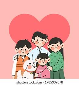 Happy Get Along Family Doodle Illustration