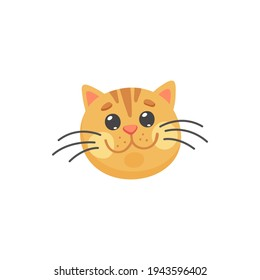 Happy ginger cat with long whiskers isolated happy emoticon. Vector red cat snout, feline purebred, short hair striped cat. Portrait of smiling kitten, head or print of home friendly animal
