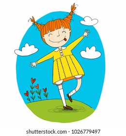Happy ginger hair girl in yellow dress vector illustration. Character for children book, greeting card.