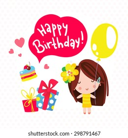Happy girl with a balloon, gift boxes and cake. Happy Birthday card. Cartoon vector illustration.