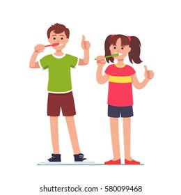 Happy girl & boy brushing their teeth with toothbrushes and showing thumbs up symbol with hands. Kids dental health and personal hygiene concept. Flat style vector illustration isolated on white.