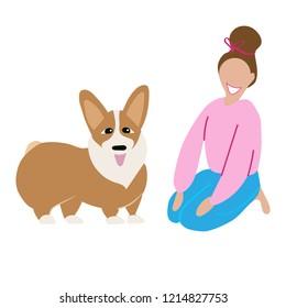 Happy girl with dog  isolated om white background,Welsh Corgi Cardigan dog,smiling woman with pet