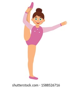 Happy girl dressed in pink leotard doing gymnastic exercises. Kids sport