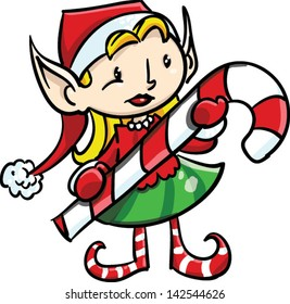 Happy girl elf looking holding candy cane