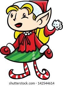 Happy girl elf standing